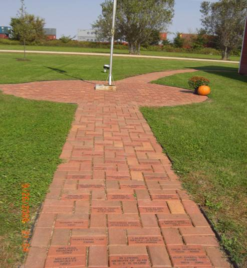 Memorial bricks around flagpole